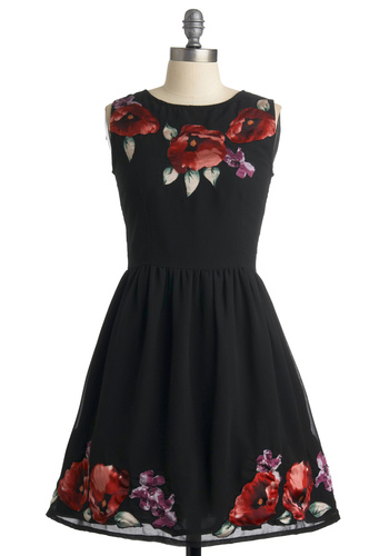 Merci Bouquet Dress - Black, Red, Floral, A-line, Sleeveless, Green, Purple, Mid-length, Party