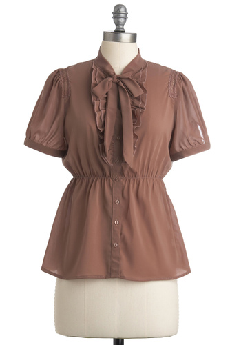 Putty Up Top - Brown, Solid, Bows, Ruffles, Short Sleeves, Work, Spring, Fall, Mid-length, Pink, Buttons, Lace