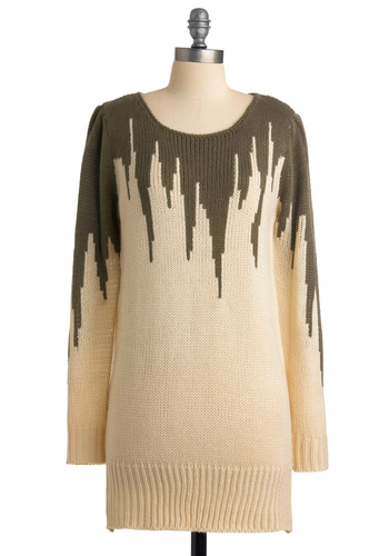 Knit's a Cinch Sweater - Cream, Brown, Knitted, Long Sleeve, Casual, Fall, Winter, Long