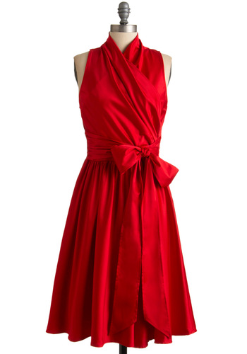 Awards Show Stunner Dress in Red - Red, Solid, A-line, Sleeveless, Long, Wedding, Party, Vintage Inspired, Wrap, Formal, Prom