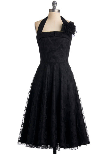 Swing Dancing Sweetheart Dress - Black, Solid, Floral, Flower, Lace, A-line, Halter, Long, Formal, Wedding, Party, Vintage Inspired, 50s, 30s, 40s, 60s, Rockabilly, Pinup, Prom