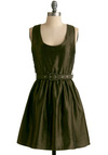 A Hint of Rosemary Dress - Green, Solid, Buckles, A-line, Tank top (2 thick straps), Party, Short