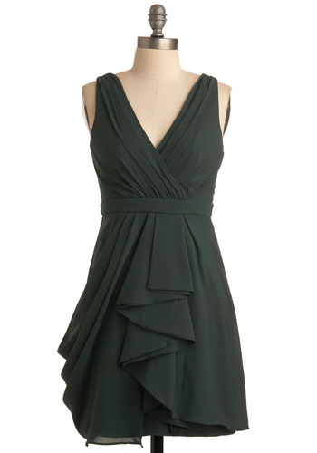 My Lucky Day Dress - Green, Solid, Pleats, Empire, Sleeveless, Exposed zipper, Wedding, Short