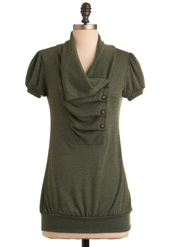 Over and Over Top in Olive - Green, Solid, Pleats, Short Sleeves, Work, Casual, Buttons, Mid-length