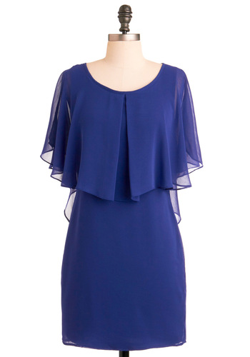 Are You Indigo? Dress - Blue, Solid, Cutout, Ruffles, Shift, Short Sleeves, Tiered, Party, Summer, Short