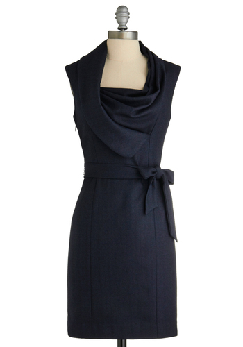 New Hire and Higher Dress - Blue, Work, Sheath / Shift, Sleeveless, Mid-length, Exclusives, Belted, Scholastic/Collegiate, Cowl, Variation