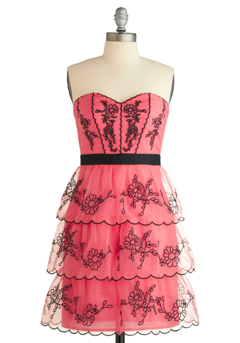 Cherry Cordially Invited Dress - Pink, Black, Embroidery, Ruffles, Scallops, Tiered, Trim, Formal, Prom, Wedding, Party, A-line, Empire, Strapless, Spring, Summer, Mid-length, Show On Featured Sale