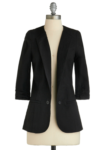 Now and Blazer - Black, Solid, Buttons, Work, 3/4 Sleeve, Mid-length, 1.5