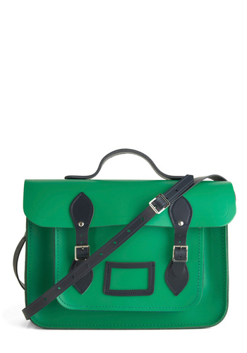 "Cambridge Satchel Upwardly Mobile Satchel in Green & Navy - 14"" by The Cambridge Satchel Company  - Green, Solid, Buckles, Work, Casual, Scholastic/Collegiate, Leather, Blue, International Designer"