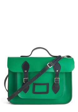 Upwardly Mobile Satchel in Green and Navy - 14""