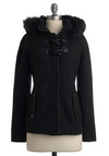 Haute on the Trail Coat - Black, White, Pockets, Trim, Casual, Long Sleeve, Fall, Winter, Mid-length, Solid, 2.5