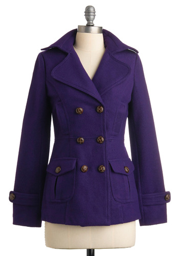 Style Formerly Known As Coat - Purple, Solid, Buttons, Long Sleeve, Pockets, Casual, Winter, Mid-length, 3