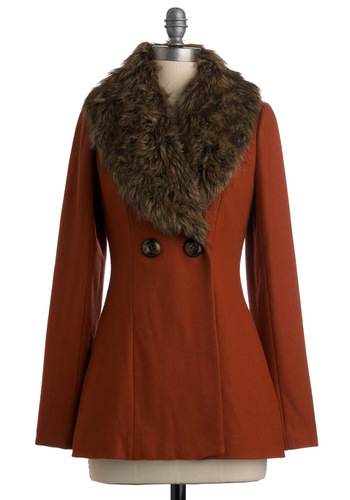 Auburn Brightly Coat - Orange, Brown, Solid, Long Sleeve, Party, Work, Casual, Fall, Winter, Mid-length, 2.5