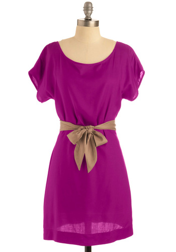 Unbelievable Dress in Fuchsia - Purple, Gold, Solid, Cutout, Sheath / Shift, Short Sleeves, Party, Spring, Summer, Show On Featured Sale, Short