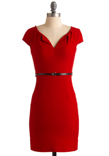 And We're Live Dress in Cherry - Red, Solid, Shift, Cap Sleeves, Mid-length, 40s, Vintage Inspired, Belted, Best Seller, Holiday Sale, Variation, Work, WPI