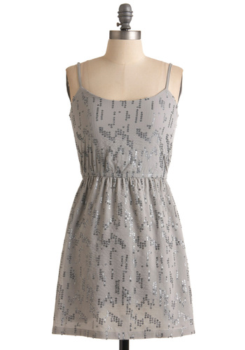 Se-Quintessential Dress - Grey, Silver, Sequins, Spaghetti Straps, Mid-length, Party, Holiday Party, A-line