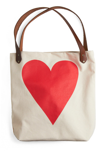 With All My Heart Tote - Red, Cream, Black, Casual, Novelty Print