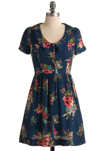 Cheerful Correspondence Dress - Pink, Floral, A-line, Short Sleeves, Multi, Red, Green, Buttons, Blue, Casual, Spring, Short, Collared