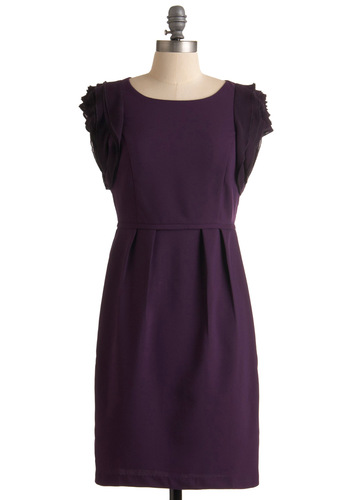 Modern Day Royalty Dress - Purple, Solid, Ruffles, Shift, Pleats, Cap Sleeves, Mid-length, Wedding, Fall