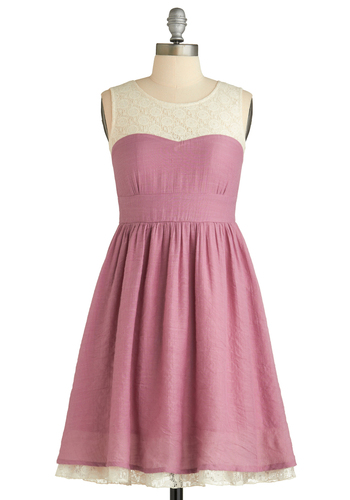 Plum Rose Dress - Lace, Party, Vintage Inspired, A-line, Sleeveless, Spring, Fall, Mid-length, Show On Featured Sale, Pink, Tan / Cream, Pink