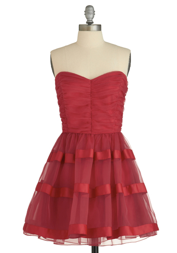 Present Company Dress - Red, Solid, Formal, Prom, Party, A-line, Strapless, Mid-length, Show On Featured Sale