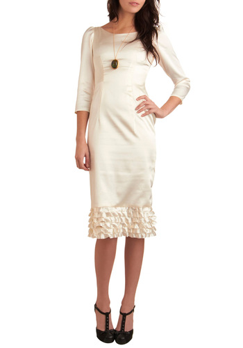 Evening of Enchantment Dress - White, Solid, Tiered, Sheath / Shift, Ruffles, Formal, Film Noir, 3/4 Sleeve, Long, Spring, Winter