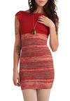 Russet Or Not Dress - Orange, Grey, White, Backless, Party, Sheath / Shift, Cap Sleeves, 80s, Short, Girls Night Out, Bodycon / Bandage, Boat