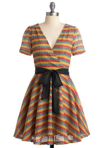 Steal the Game Show Dress - Multi, Black, Print, Woven, A-line, Short Sleeves, Mid-length, Party, 70s, Wrap, Summer, Fall, Red, Yellow, Green