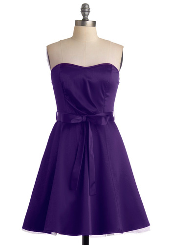 Zest is More Dress in Purple - Purple, A-line, Strapless, Solid, Mid-length, Belted, Daytime Party, Best Seller, Fit & Flare, Sweetheart