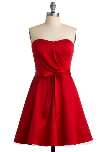 Zest is More Dress in Red - Red, A-line, Strapless, Solid, Summer, Mid-length, Belted, Daytime Party, Best Seller, Fit & Flare, Sweetheart, Variation, Prom, Wedding, Bridesmaid