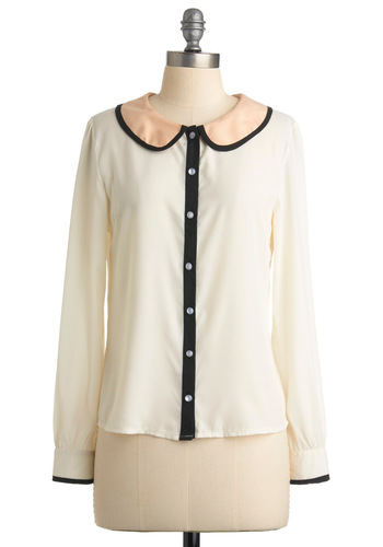 Panel Presentation Top - Cream, Orange, Black, Solid, Buttons, Peter Pan Collar, Long Sleeve, Mid-length, Trim, Work, Spring, Fall, Winter