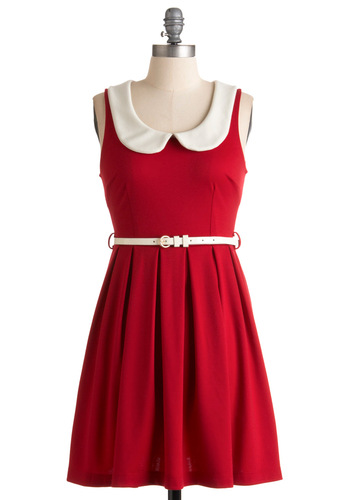 Polite and Day Dress - Red, White, Solid, Peter Pan Collar, Sleeveless, Mid-length, Exposed zipper, Pleats, Casual, A-line