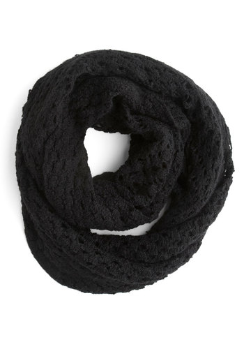 Inner Circle Scarf - Black, Knitted, Fall, Winter, Solid, Top Rated, Tis the Season Sale