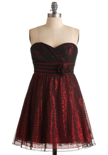 Stop, Style, and Roll Dress - Red, Black, Solid, Flower, Pleats, Sequins, Prom, Party, A-line, Empire, Mini, Strapless, Short, Summer, Special Occasion