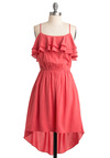 Best Day Yet Dress - Pink, Solid, Ruffles, Party, Spaghetti Straps, Spring, Summer, Mid-length, A-line