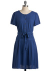 Cool Blue Beauty Dress - Blue, Solid, Buttons, Work, Casual, A-line, Short Sleeves, Fall, Mid-length, Belted, Button Down