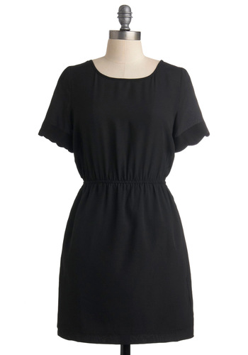 Raise the Curtain Dress - Black, Cutout, Scallops, A-line, Short Sleeves, Solid, Backless, Short, Casual