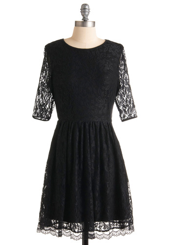 Outright Amity Dress by Sugarhill Boutique - Black, Cutout, Lace, A-line, 3/4 Sleeve, Party, Scallops, Backless, Mid-length, Cocktail, Holiday Party, Sheer, International Designer, Special Occasion, Lace