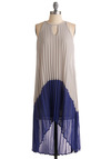Coolest Party Ever Dress - Pleats, Tent / Trapeze, Sleeveless, Grey, Party, Halter, Summer, Blue, Short