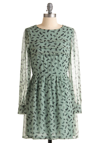 Got a Feline Dress by Sugarhill Boutique - Green, Black, Buttons, Exposed zipper, Pleats, A-line, Long Sleeve, Print with Animals, Casual, Spring, Fall, Print, Short, International Designer