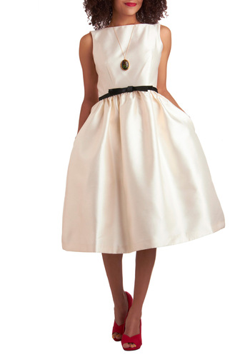 Winter Waltz Dress in Ivory - White, Black, Solid, A-line, Sleeveless, Bows, Pockets, Formal, Vintage Inspired, Spring, Long, Wedding, Party, Prom