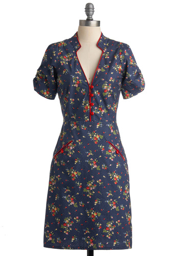 Strawberry Clafouti Dress by Trollied Dolly - Blue, Floral, Buttons, Short Sleeves, Mid-length, Polka Dots, Pockets, Multi, Trim, Casual, Sheath / Shift, Spring, Fall, Fruits, Vintage Inspired, 40s, International Designer