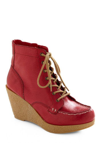 A Graham Old Time Bootie in Cherry by BC Shoes - Red, Tan / Cream, Casual, Fall, Winter, Solid