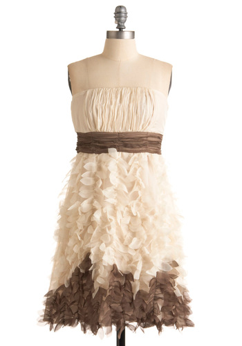 A Whispered Wish Dress by Ryu - Brown, Tan / Cream, Solid, Wedding, Party, A-line, Strapless, Spring, Fall, Mid-length, Formal, Prom