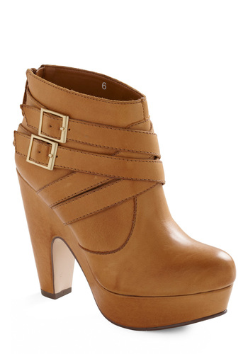 Theory Booties by Seychelles - Tan, Solid, Buckles, Party, Casual, Fall, Winter