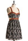 Angle of Opportunity Dress - Print, Cutout, A-line, Tank top (2 thick straps), Short, Brown, Party, Summer, Fall, Multi