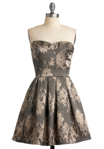 Champagne by Starlight Dress - A-line, Strapless, Floral, Wedding, Party, Spring, Cream, Lace, Pleats, Mid-length, Grey, Tan / Cream