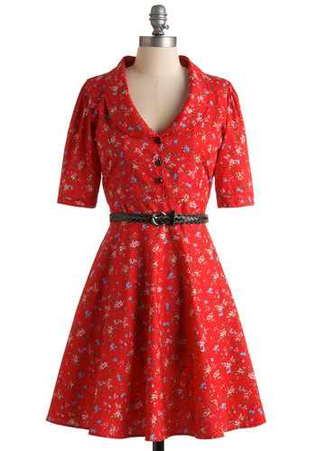 Rhyming Roses Dress by Trollied Dolly - Red, Blue, Pink, White, Polka Dots, Floral, Work, Casual, 50s, A-line, Short Sleeves, Spring, Fall, Mid-length, Buttons, International Designer