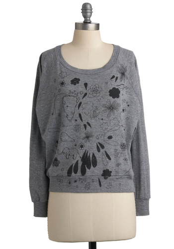 How Doodle You Do Top - Grey, Black, Long Sleeve, Novelty Print, Casual, Fall, Winter, Short