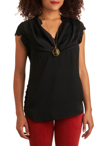 Memorable Meeting Top - Black, Solid, Buttons, Work, Casual, Cap Sleeves, Mid-length